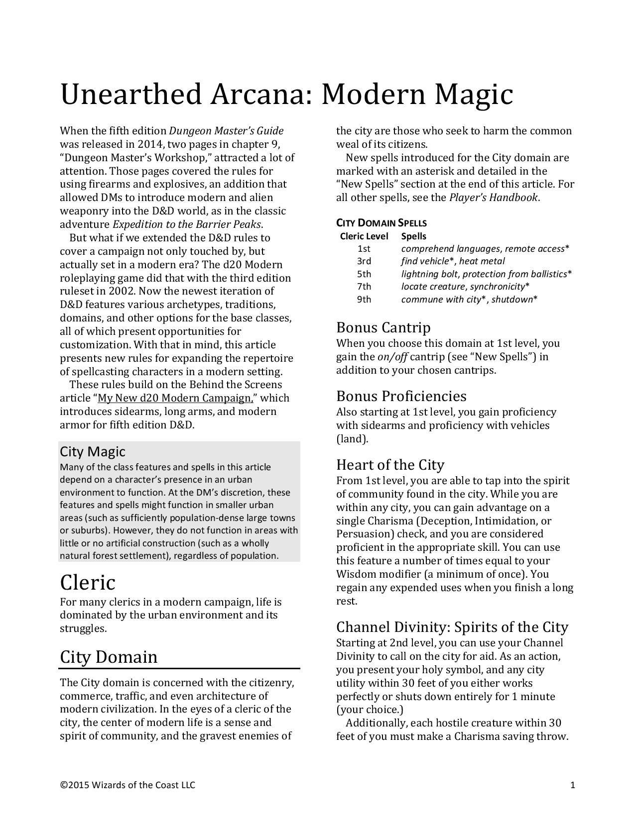 DnD 5e Homebrew — Unearthed Arcana: Modern Magic | DND | Dnd