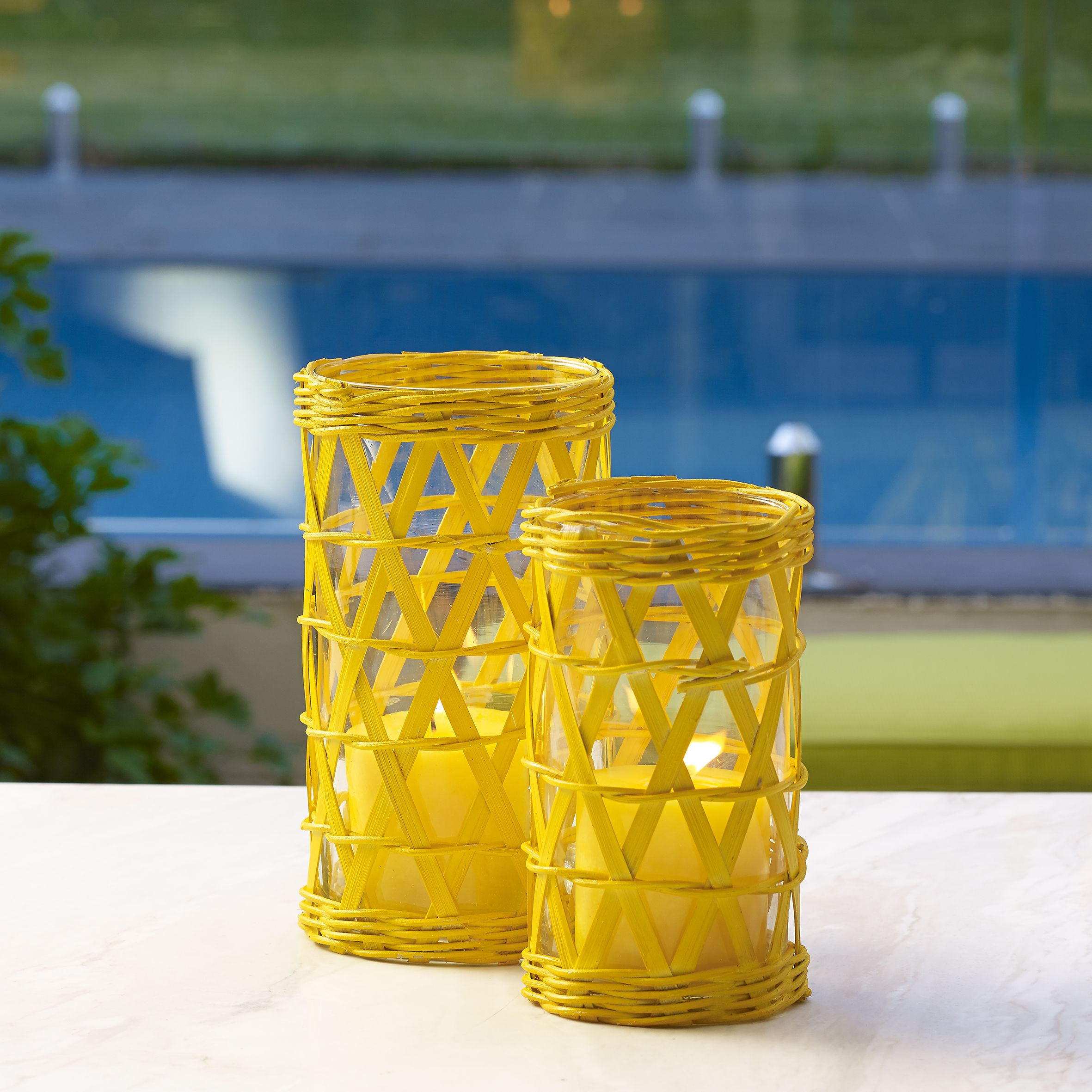 Poppy bamboo candle holders short and tall yellow and