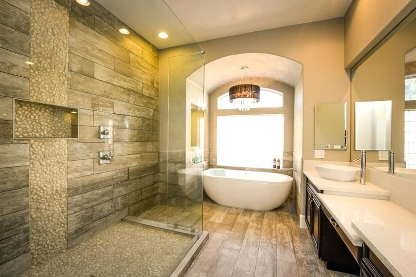 Wood Shower Luxury River Rock Shower With Wood Grain Style Porcelain ...