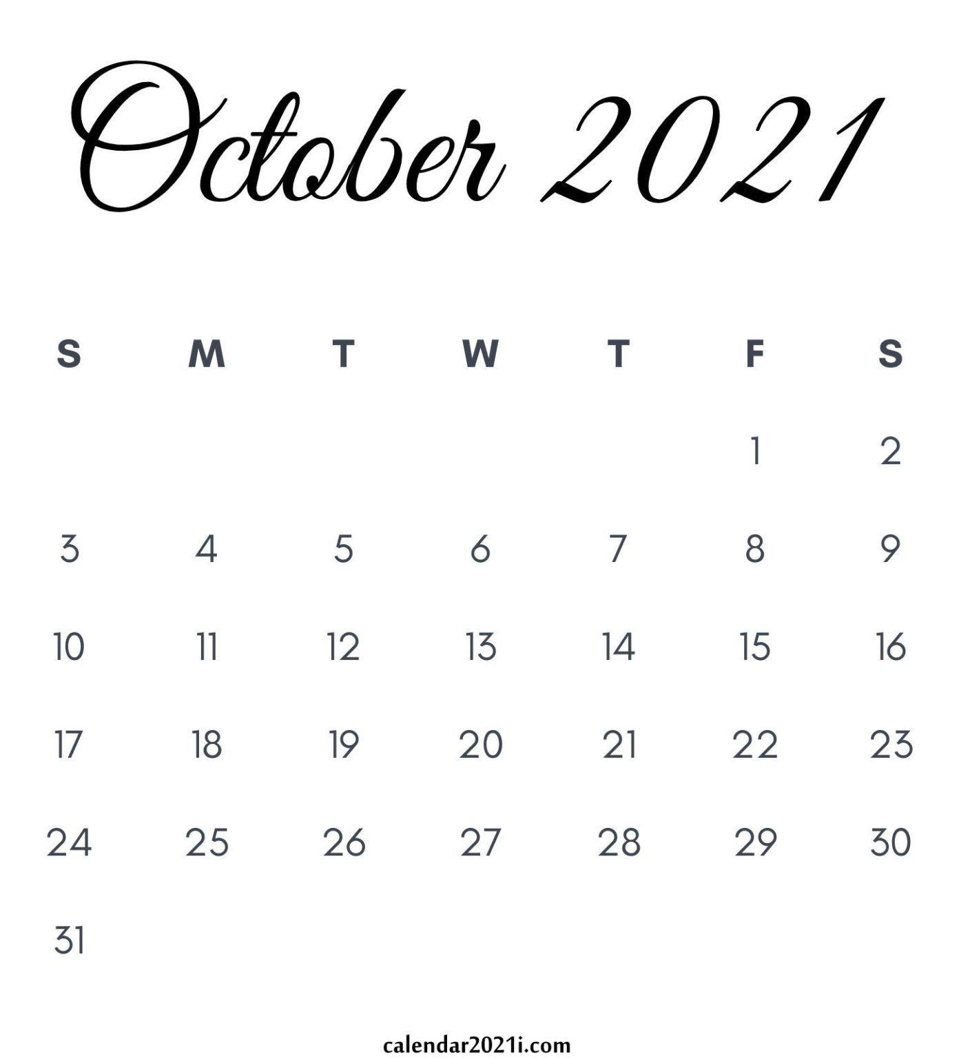 October 2021 Calendar Printable | Monthly calendar printable, 2021