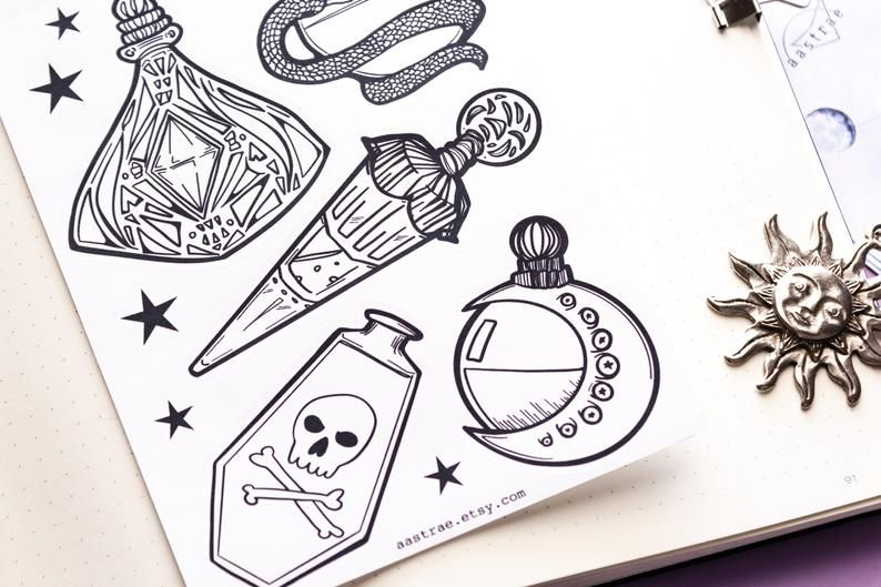 Witchy Elements Book of Shadows and planner stickers Bullet Journal