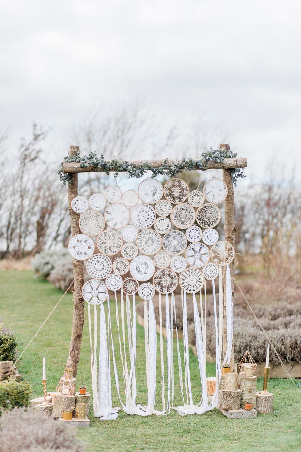 Backdrop Ceremony Wall Embroidery Hoop Dream Catchers Bohemian Greenhouse Wedding Ideas Secret Herb Garden Siobhan Stewart Photography #ceremonyideas