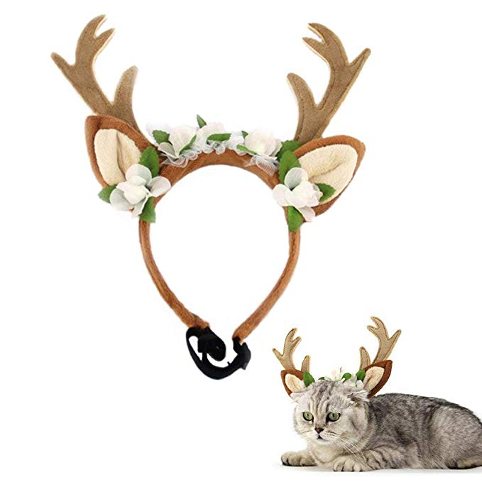 Amazon Com Kathson Dog Headband Costume With Flowers Holiday Christmas Reindeer Antlers Ears Wearable For Christmas Reindeer Reindeer Antlers Dog Accessories