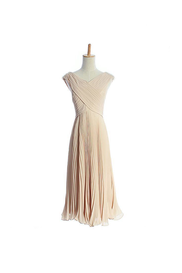 Vneck overlapped tee length pleated chiffon gown for girls