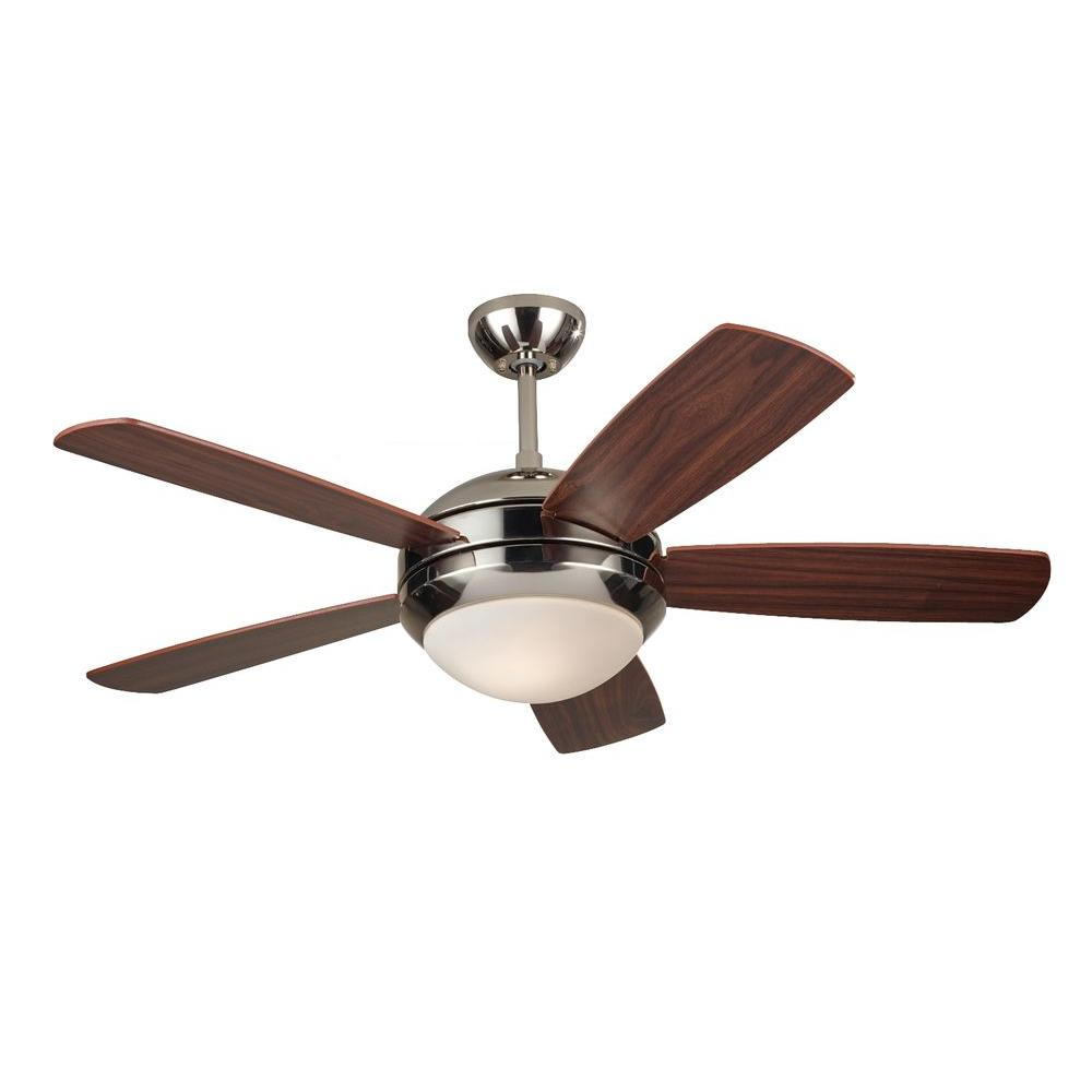 Monte Carlo Discus Ii 44 In Polished Nickel Ceiling Fan With American Walnut Blades 5di44pnd The Home Depot Ceiling Fan Ceiling Fan With Light Fan Light