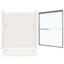 Swanstone Bisque 5 Piece Alcove Shower Kit Common 60 In X 32 In