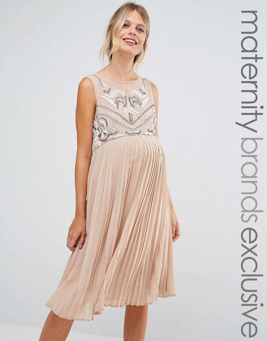 Buy it now maya maternity sleeveless skater dress with pleated maya maternity sleeveless skater dress with pleated skirt brown maternity ombrellifo Images
