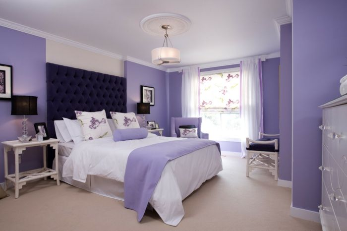 Wandfarben Ideen Schlafzimmer Lavendel Wandfarbe