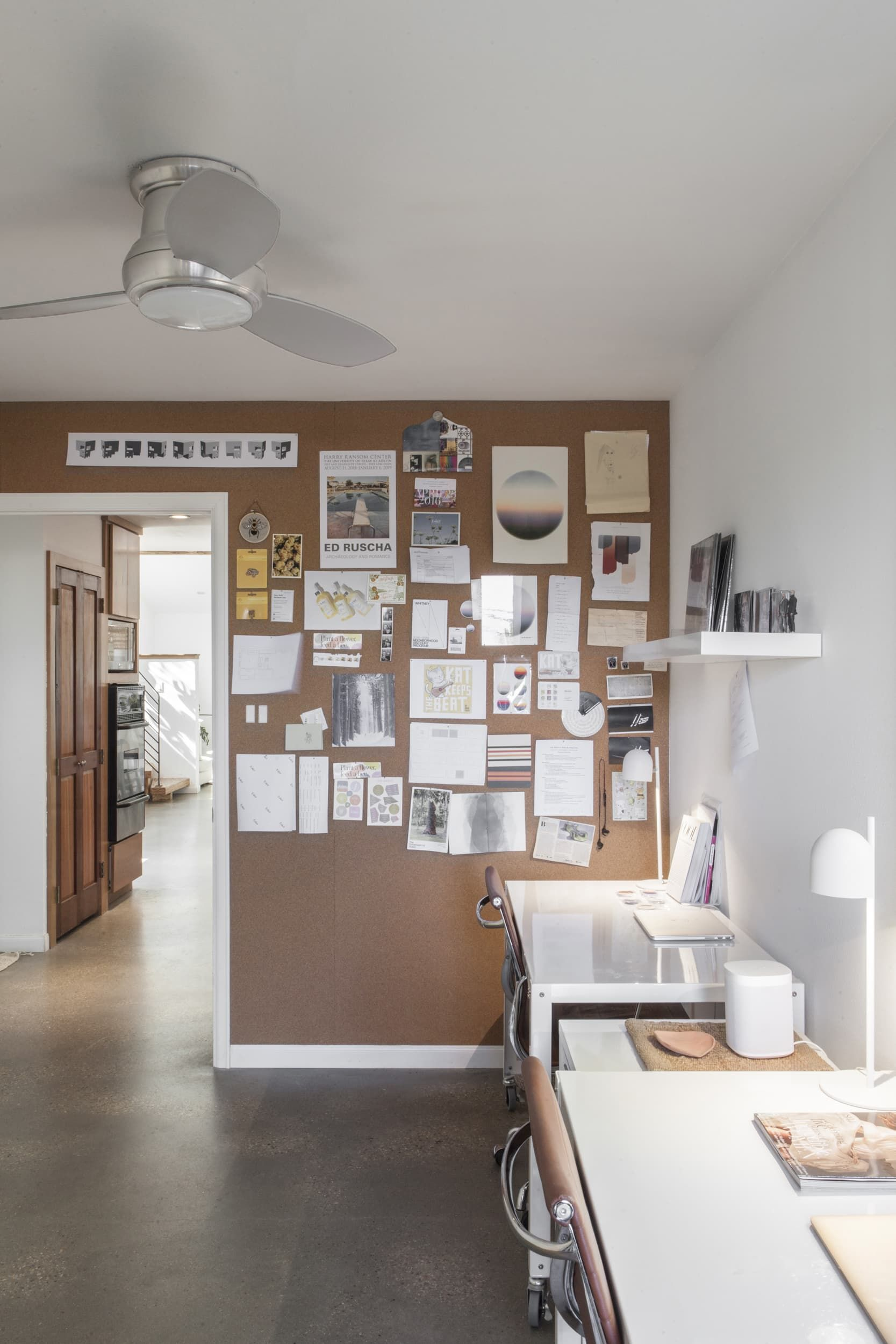a solar powered austin house for two creatives home on inspiring workspace with a cork wall creating a custom cork board for your home id=30687