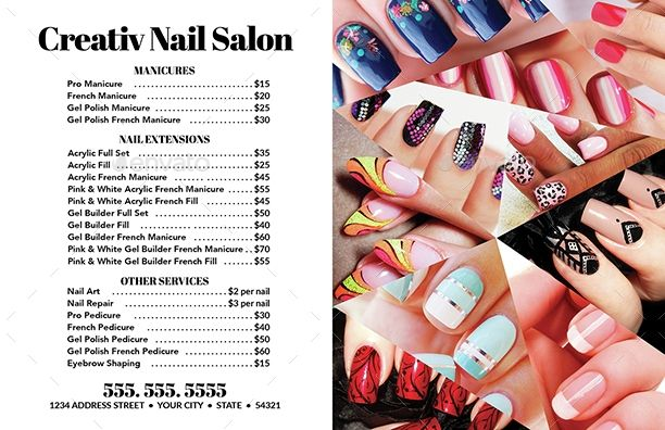 Nail Salon Flyer Business Card Templates 2 Creativb Graphicriver Acrylic French Manicure Gel Polish Manicure Best Nail Salon