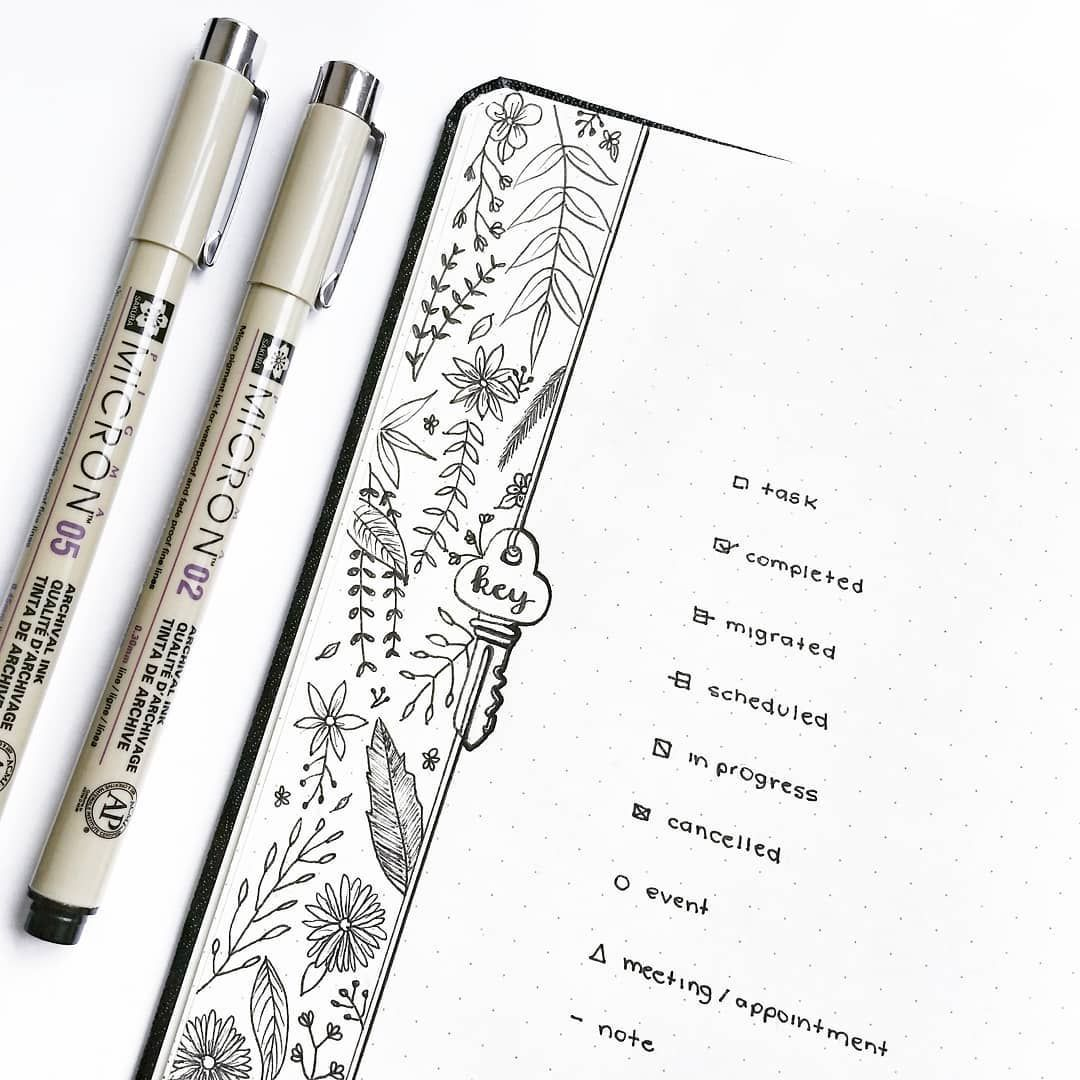 Bullet journal key drawing botanical drawings thestudiesphase