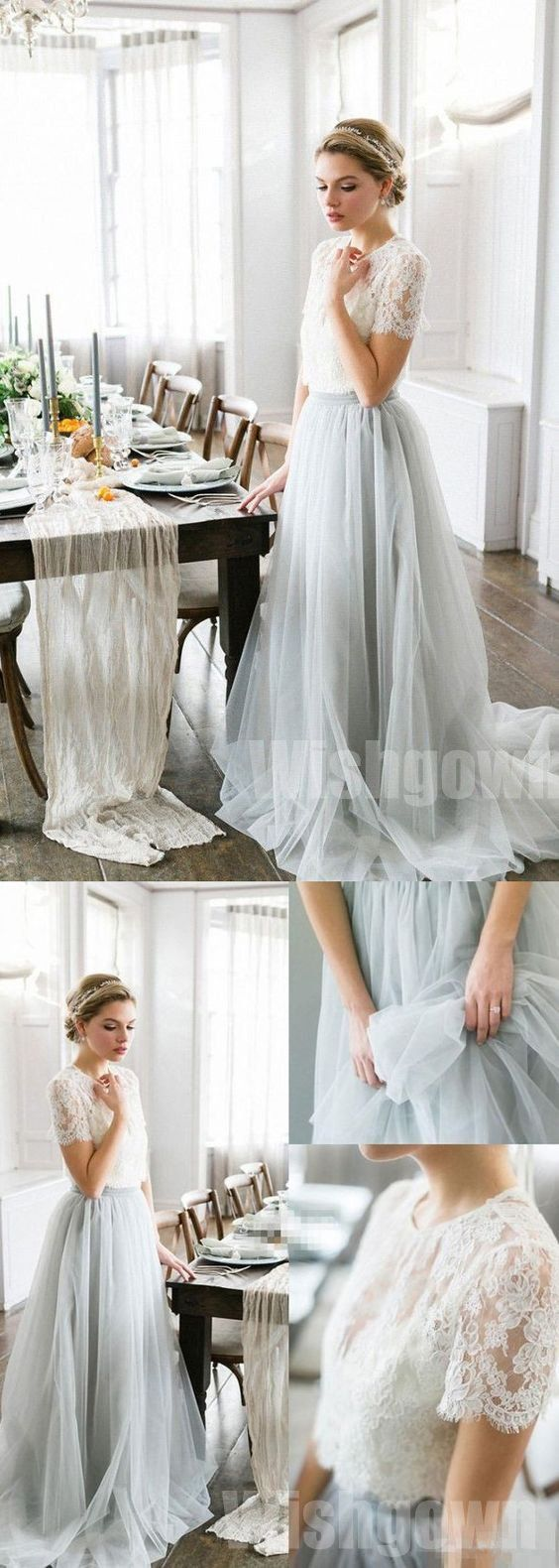 pices charming lace top tulle short sleeves long wedding