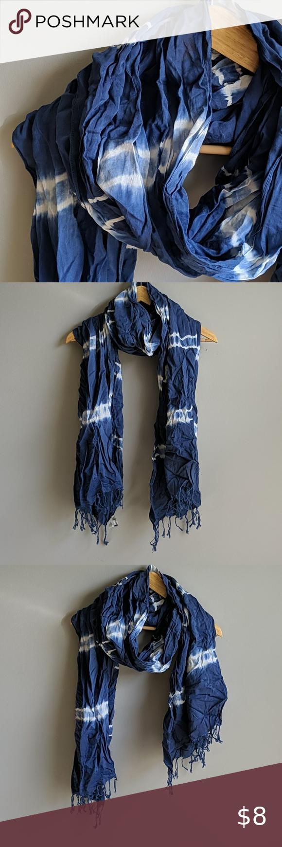 3 20 Aeo Blue Tie Dye Scarf In 2020 Tie Dye Scarves Blue Tie Dye Tie Dye Cotton