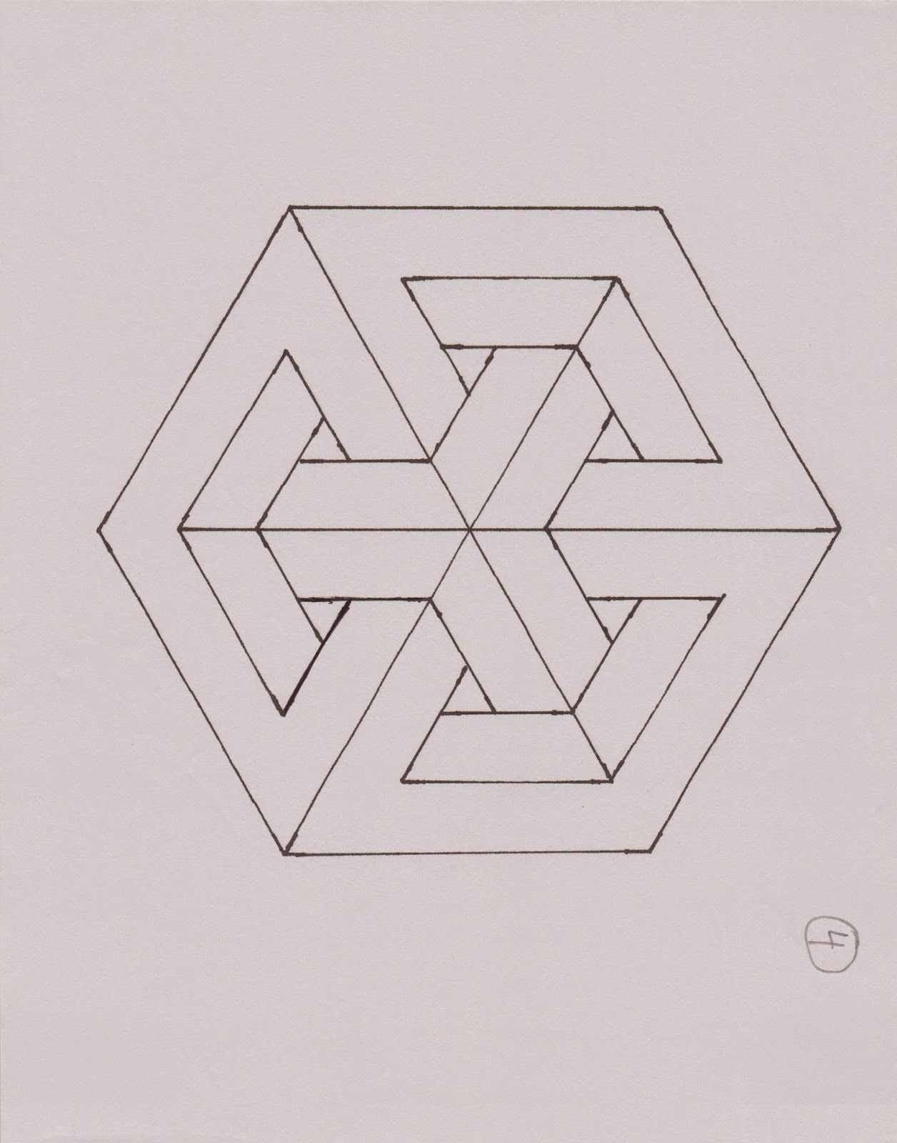 Geometric Sculpture, Geometric Art, Geometric Patterns, Impossible Triangle, Isometric Design,