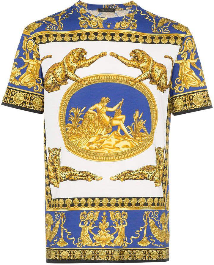 6a77b2d6dd2 Versace blue and white Medusa print cotton short sleeve t shirt ...
