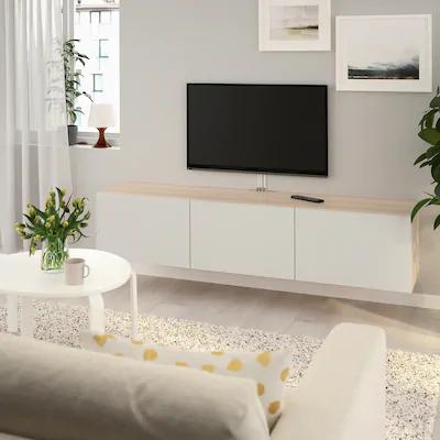 besta banc tv avec portes effet chene