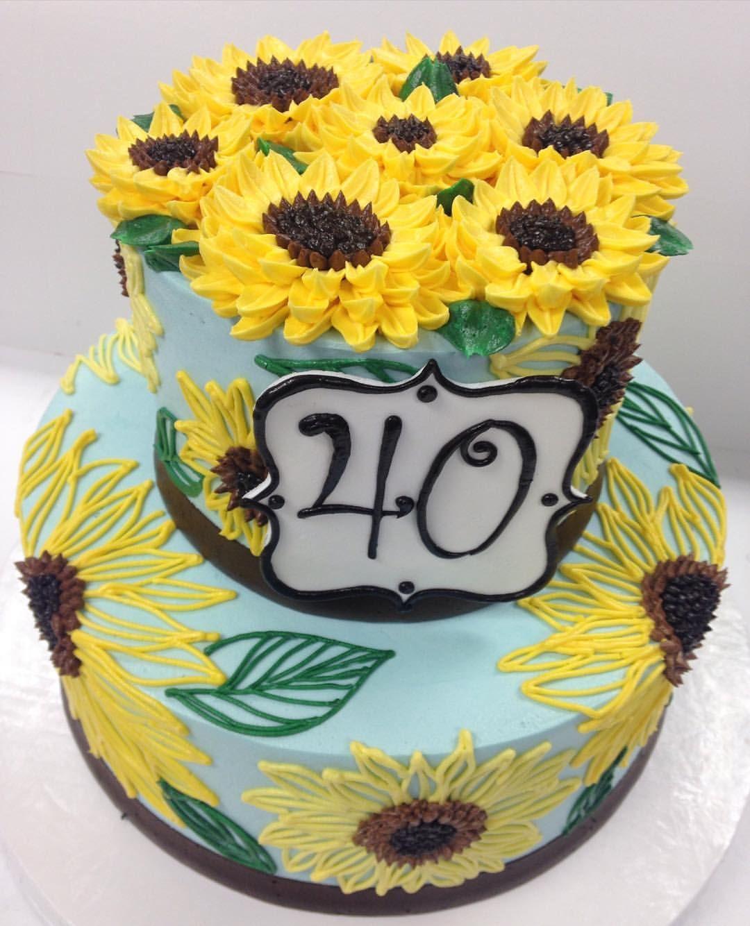 Beautiful little sunflower themed 2 tier buttercream