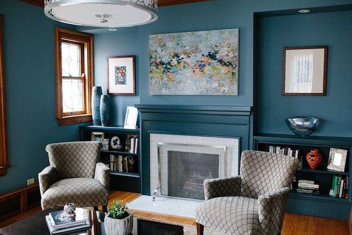 d co salon bleu canard paon p trole du goudron et des plumes salon pinterest salon. Black Bedroom Furniture Sets. Home Design Ideas