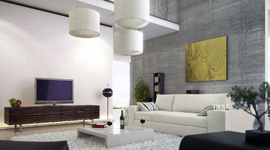 Modern Living Room With Unusual Creative Sofa Set: Amazing Modern Living  Room Concrete Wall Mezzanine