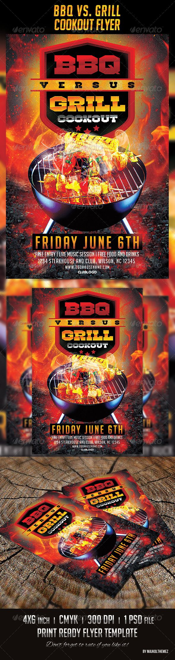 Bbq Vs Grill Cookout Flyer Events Flyers Bbq Flyer Templates