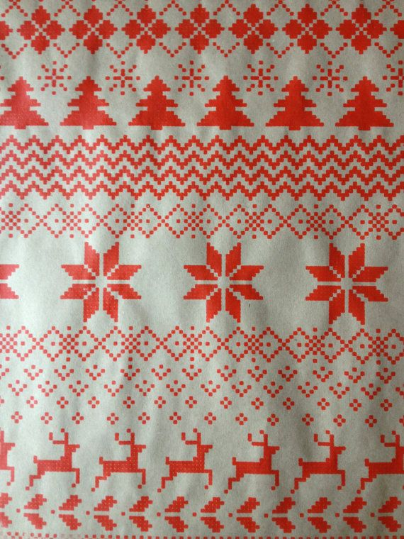 Fair Isle Sweater Wrapping Paper Silkscreen in Red by HelloHeyYo ...