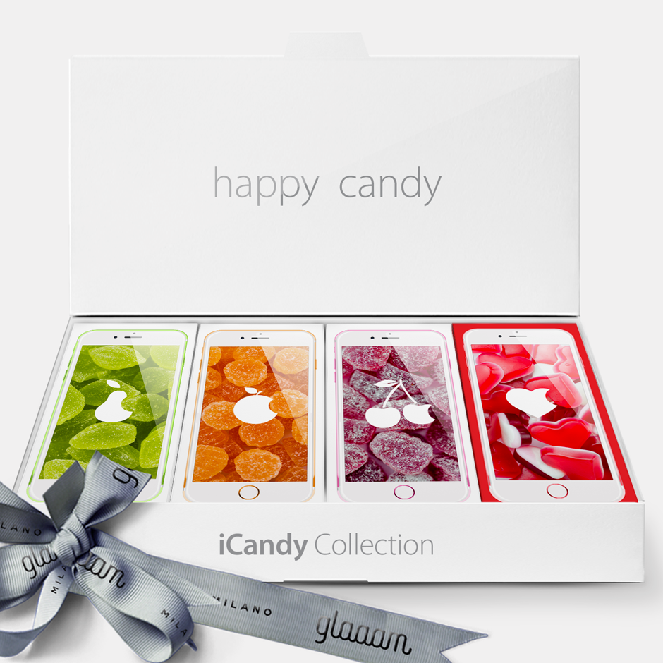 4 iCandy in 1 beautiful Happy Box. The perfect collection. The perfect taste.  The perfect gift.  #CandyDifferent #iCandy #iPear #iOrange #iCherry #iLove #JellyCandy #iPhone #Apple #LimitedEdition #PopArt #Fashion #Sweet #Candy #CandyStore #Glamour #Glaaam #Gift #MadeinItaly #Milan #Design #creative #funny #parody #Bar #Packaging #Box #Ideas