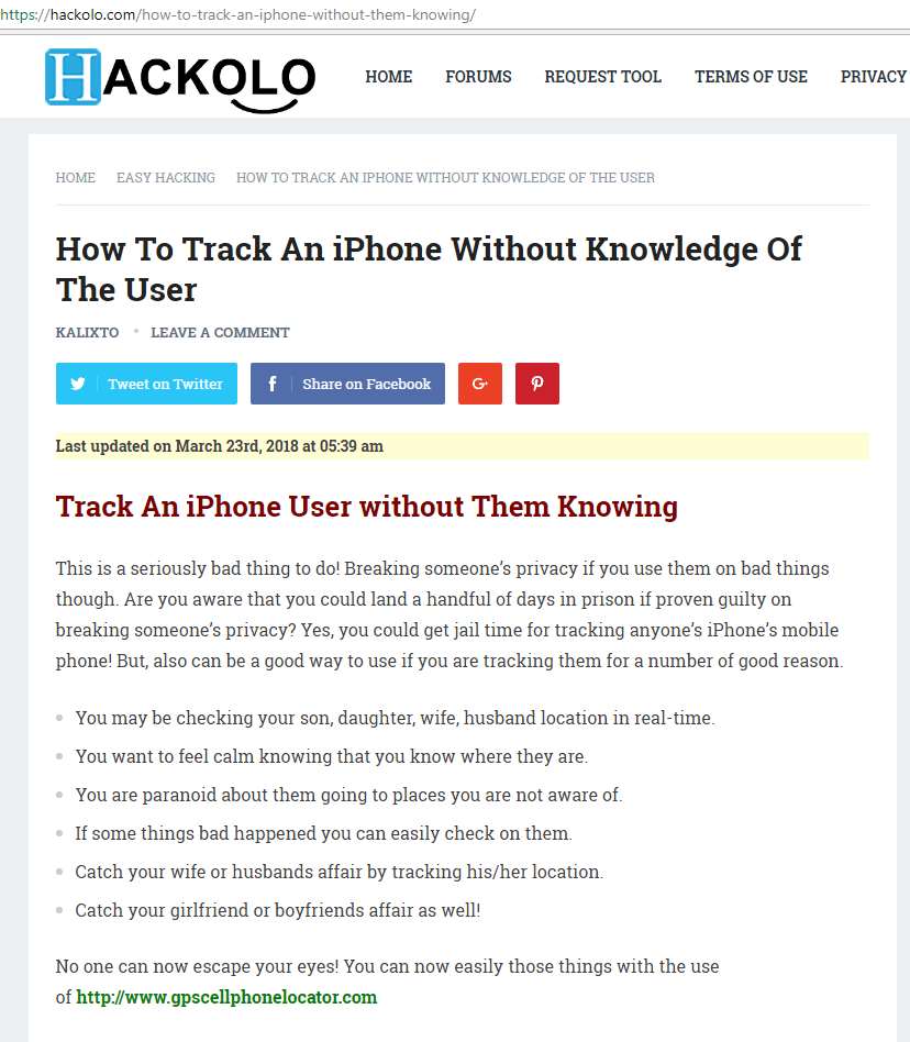 How To Track An iPhone Without Knowledge Of The User