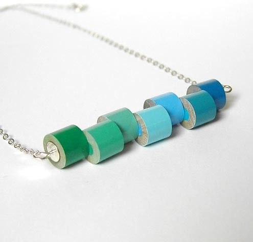 Sterling silver color pencil necklace Winter No. 1, the green and blue series