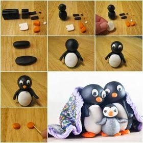 ARTESANATO COM QUIANE - Paps,Moldes,E.V.A,Feltro,Costuras,Fofuchas 3D: como faz: Pingu feito de fimo