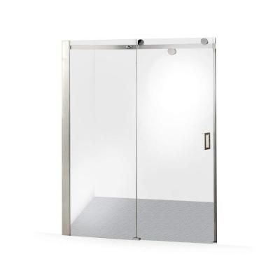 DreamLine Enigma-X 68 in. to 72 in. x 76 in. Frameless Sliding Shower Door in Brushed Stainless Steel-SHDR-61727610-07 - The Home Depot