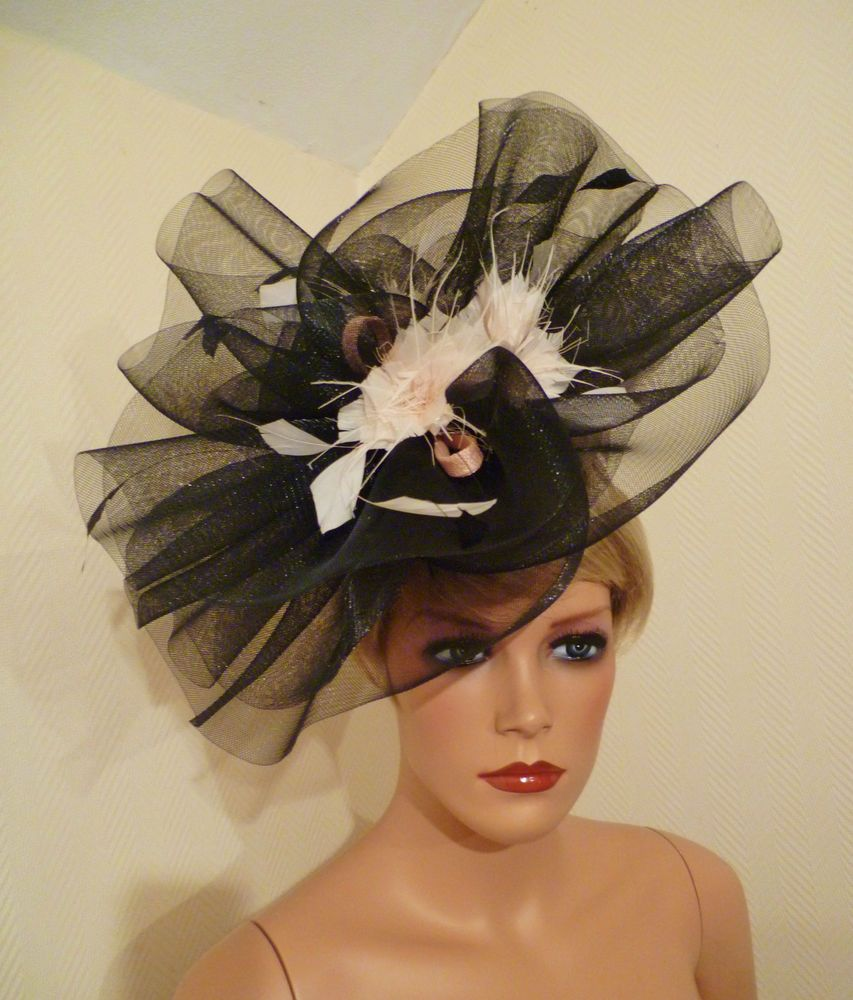 6b896d66b6875e LADIES DAY BLACK NET PEACH NUDE FASCINATOR WEDDING ROYAL ASCOT DERBY RACE  HAT