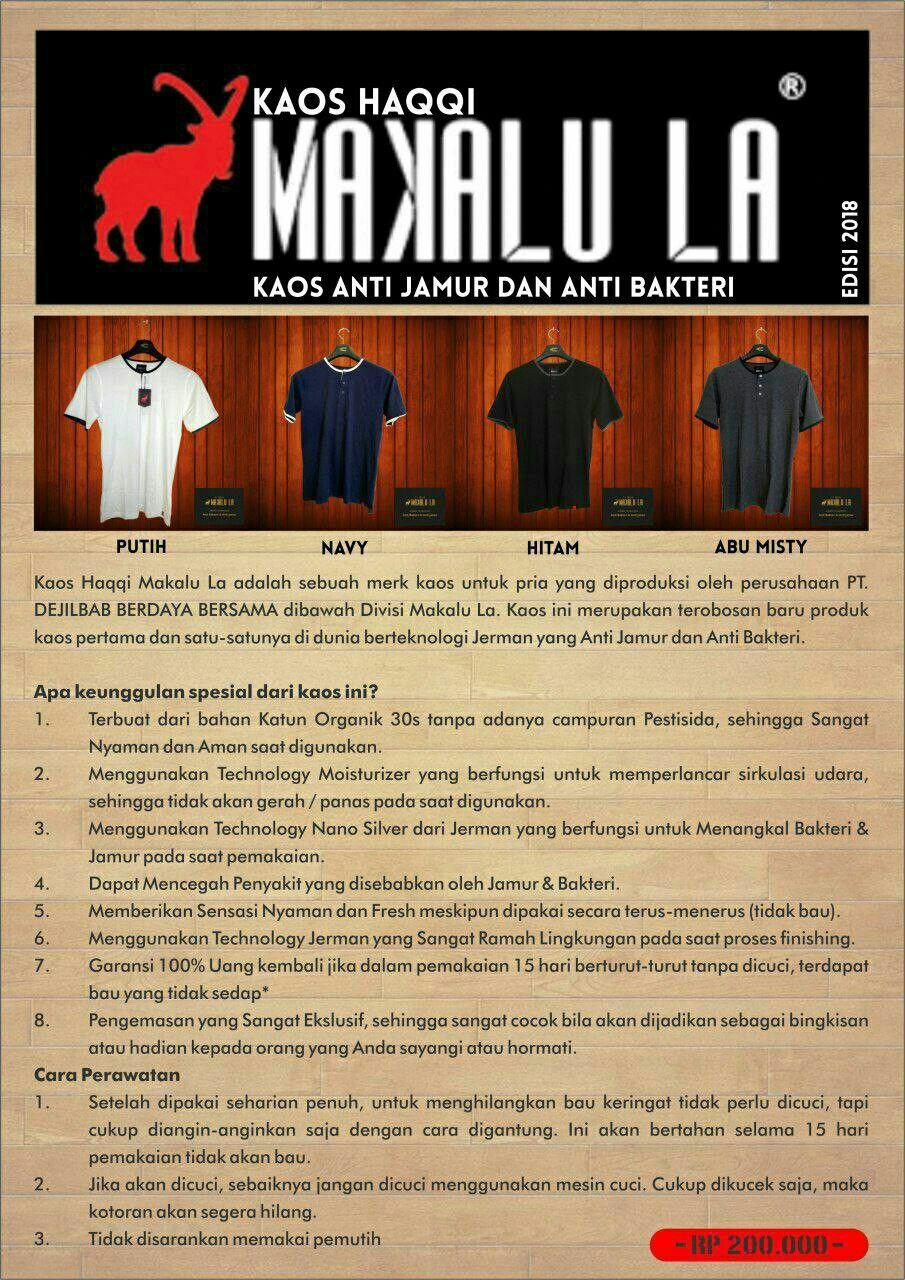 Kaos Haqqi Makalu La Baju Anti Bakteri Dan Jamur Fashion Tendencies Pria About Sports Hitam S