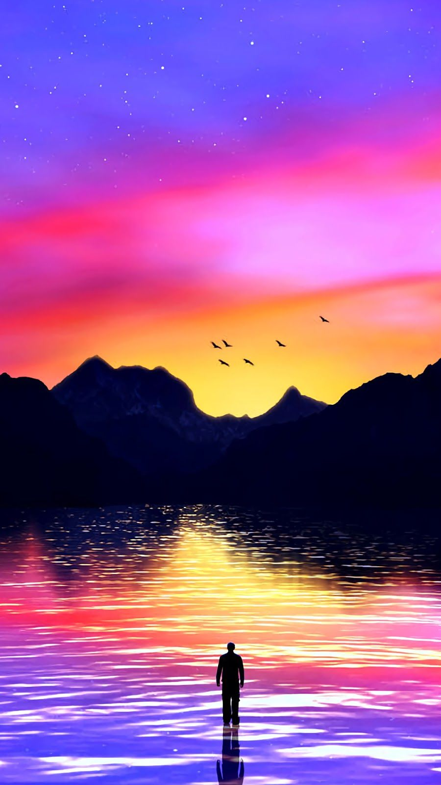 Before The Colorful Sky Iphone Wallpaper Sky Sunset Wallpaper Beautiful Wallpapers