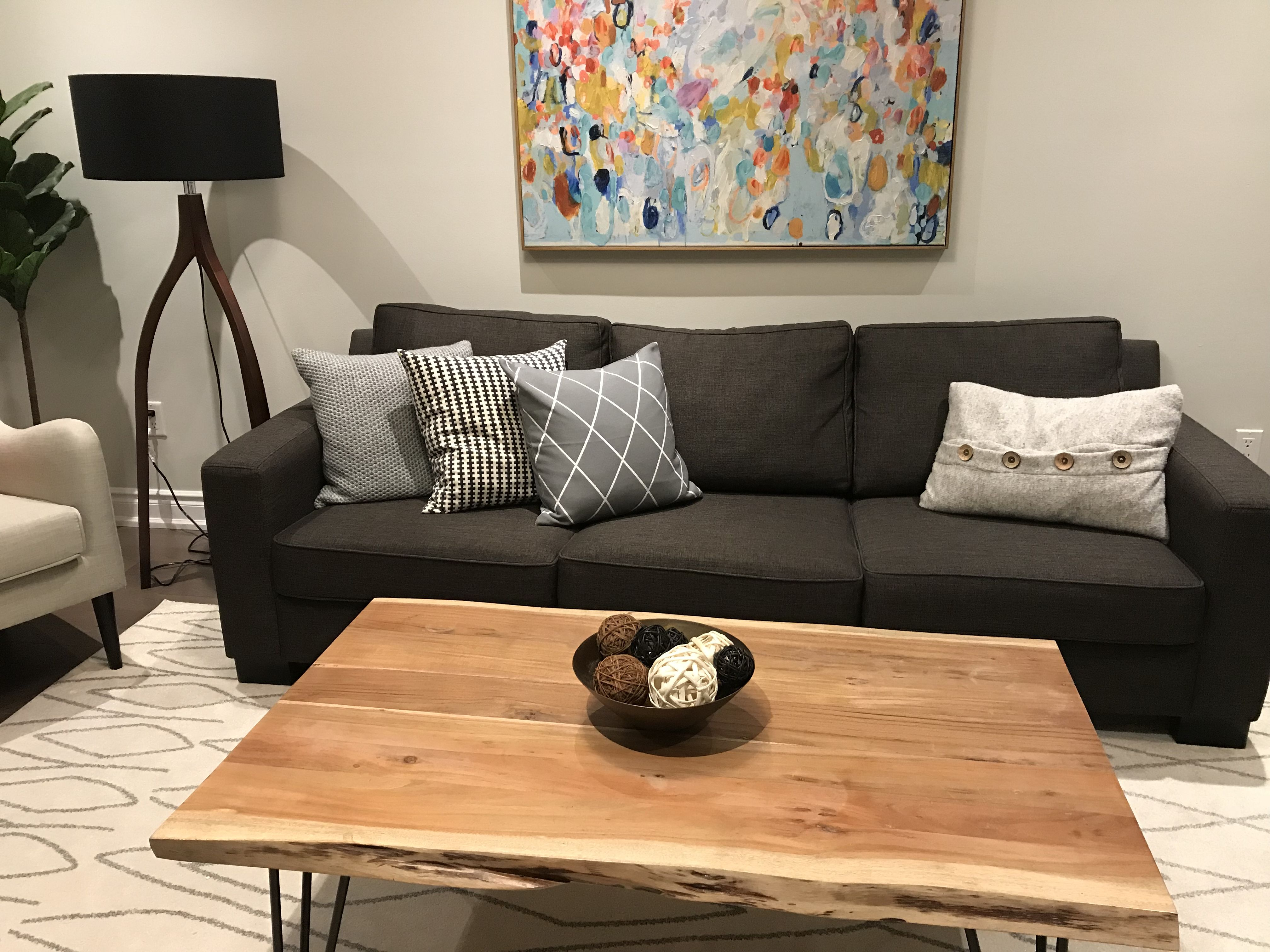 Grey On Grey With Structube Reno Reclaimed Wood Table Cushion Covers From H M Home Reclaimed Wood Table Furniture Coffee Table [ 3024 x 4032 Pixel ]