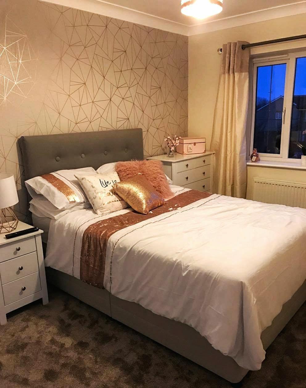 Rose Gold Glitter Wallpaper Bedroom