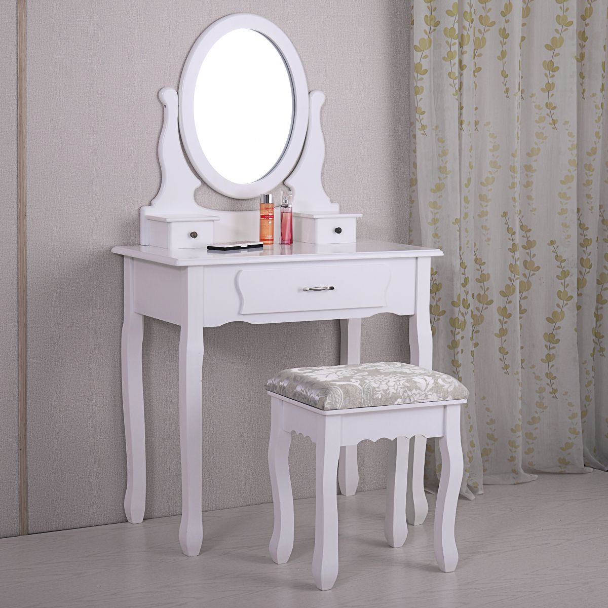 Jaxpety White Wood Makeup Dressing Table Stool Set Antique Collection Vanity Table With 3 Drawers Antiq In 2020 Dressing Table With Stool Vanity Table Set Vanity Table