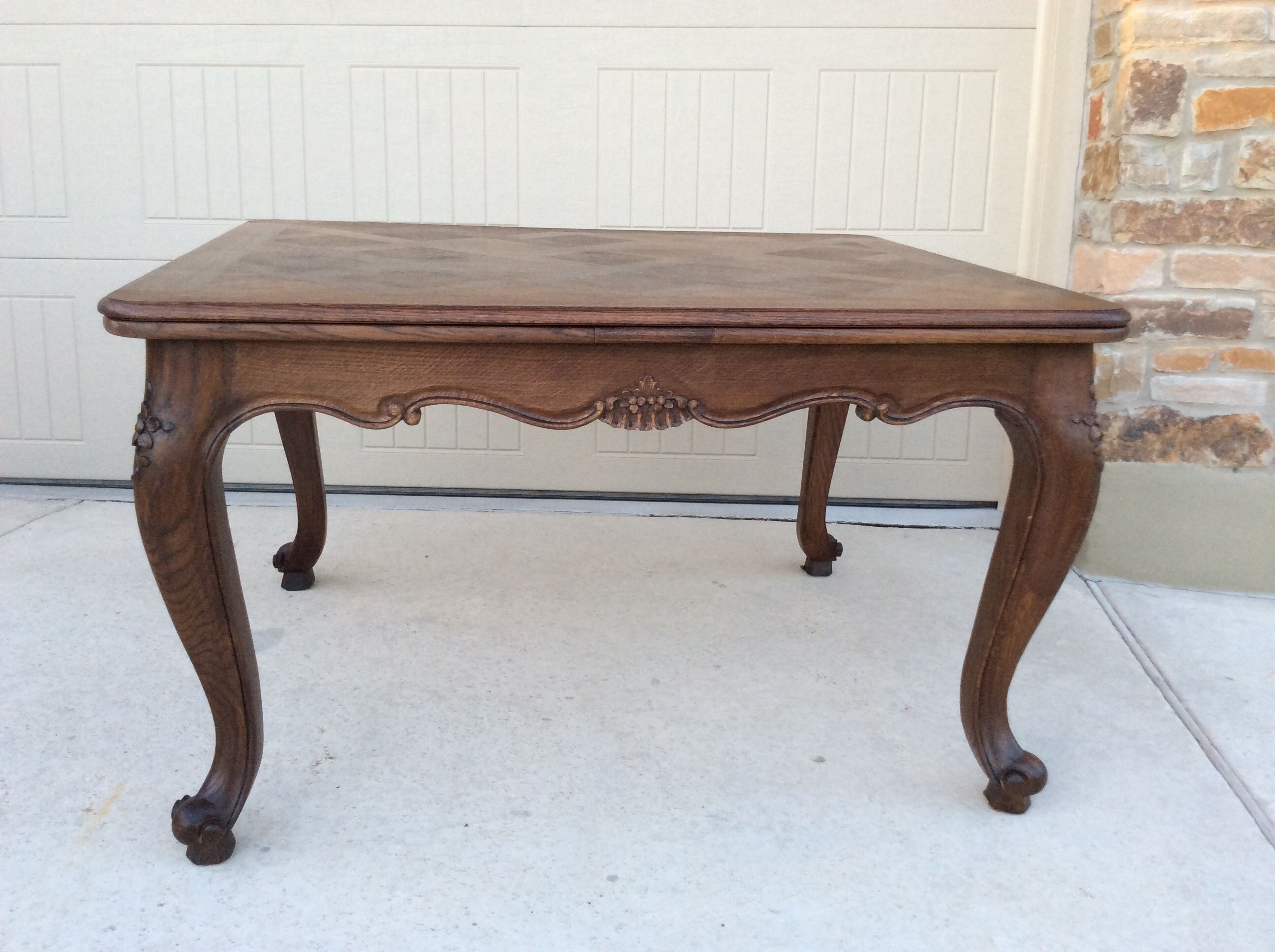 French Draw Leaf Table Solid Oak With Two Leaves And
