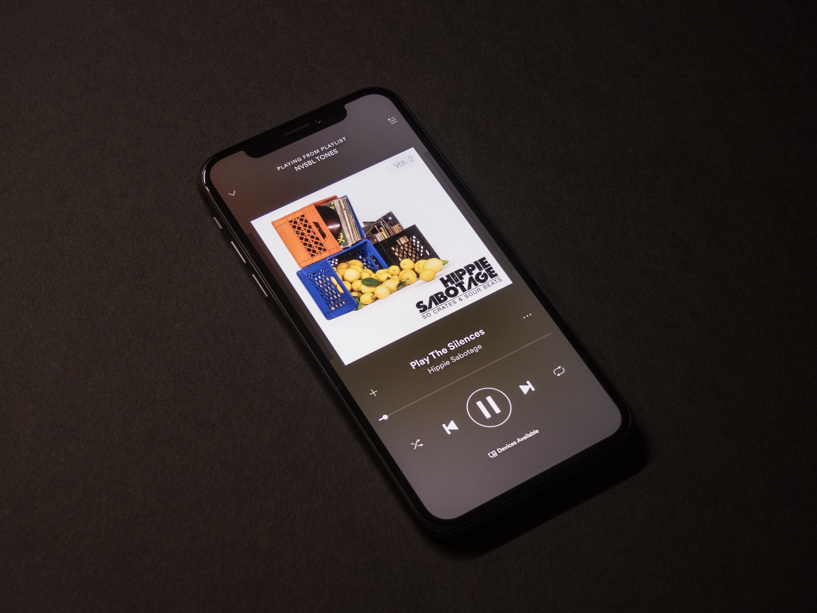 User interface of spotify music player screen in 2020