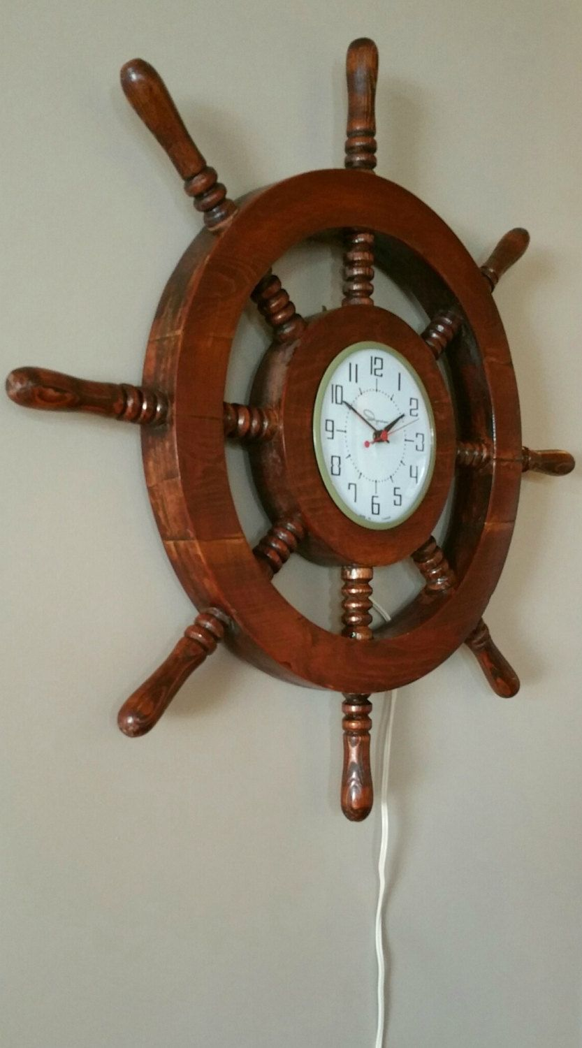 Vintage Ingraham Wooden Shipu0027s Wheel Electric Wall Clock By  EmptyNestVintage On Etsy