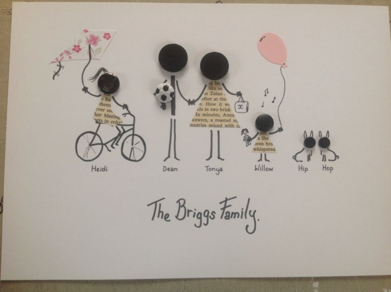 Personalised A4 Button Head Family Picture Gift Wedding Birthday Anniversary