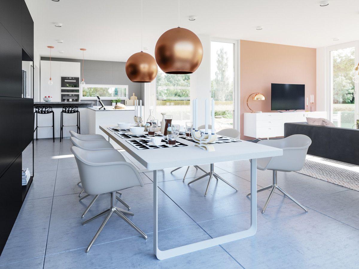 Haus Einrichten Modern Mit Offener Küche Und Essplatz   Ideen  Inneneinrichtung Fertighaus Concept M 154 Von