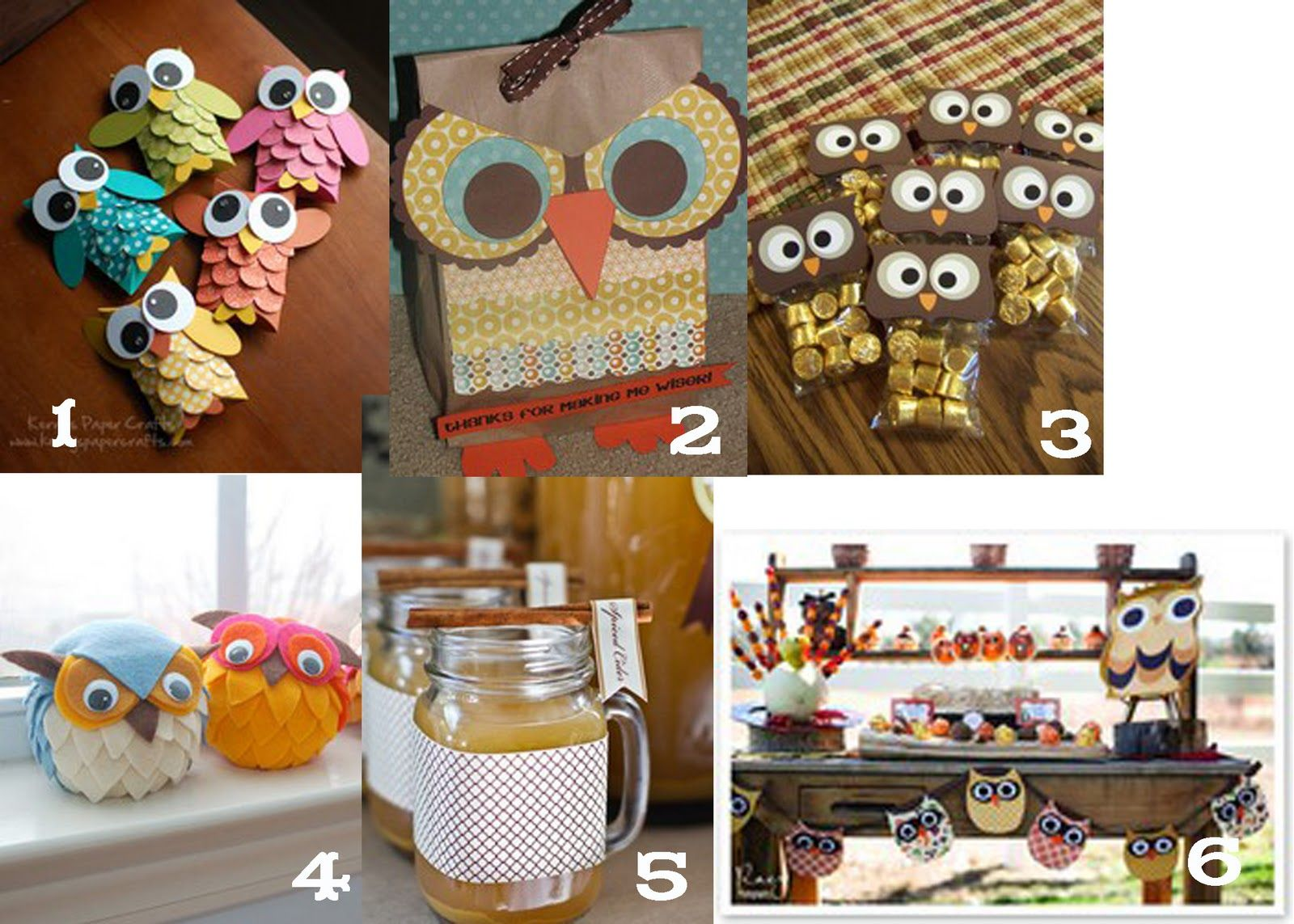 1. owl pillow boxes from Kerry's Craft Blog  2.Owl treat bags from Clean & Scentsible  3. Owl treat bags from Stamp'n Connection  4.Felt owls from Factory Direct Craft blog  5. Cider in jar glasses from Whipperberry  6. Cute owl banner from Ultimately Plush