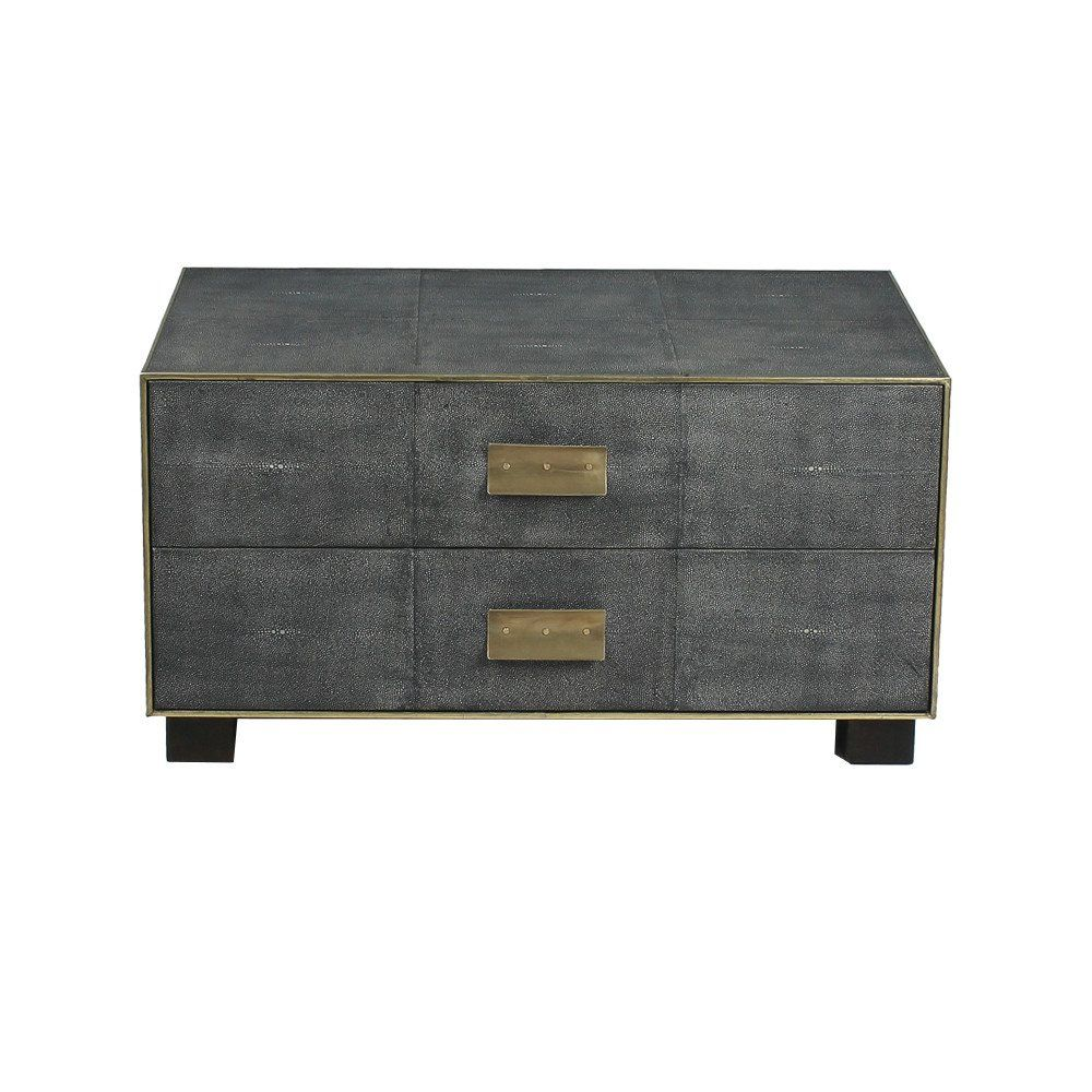 A luxe, high-fashion chest that would be perfect as a dresser, bedside table or media console. Featuring a midnight grey shagreen finish, gold leather trim and black and white marble-style inner drawe