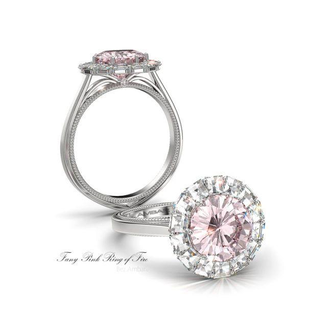 Photo of Bague de fiançailles diamant taille radiant encadrée Blaze avec bandes de saphir rose