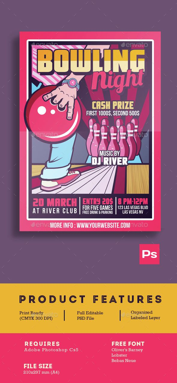 Bowling Night Tournament Night, Templates and Flyers - bowling flyer template free