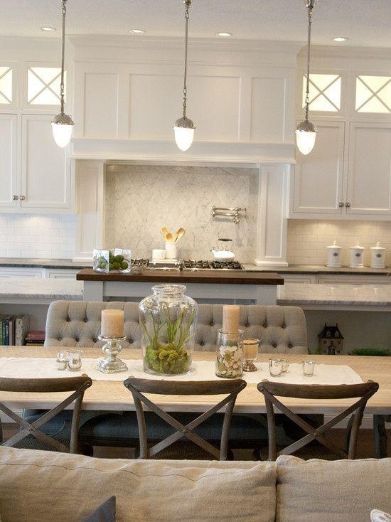 Source Alice Lane Home Open Plan Kitchen Dining Room With Visual Comfort Lighting Garey Pendants