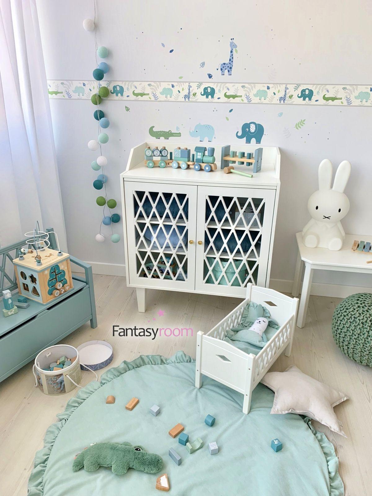 Jungenzimmer Mit Safaritieren In Blau Mint Bei Fantasyroom Online