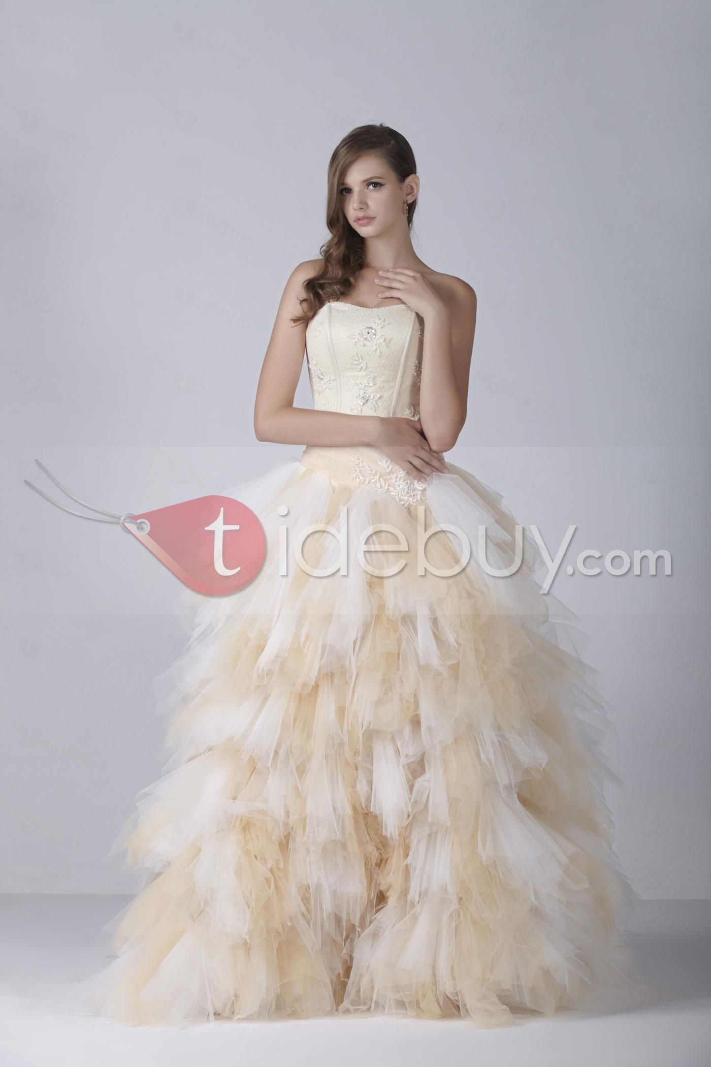 Leslie knope wedding dress  Luxurious Strapless Ball Gown Ruffling Color Aleksander s Wedding