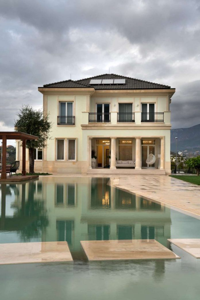 Modern Two Storey House Design With Terrace: Two Storey Contemporary Villa Located In The Rolling Hills