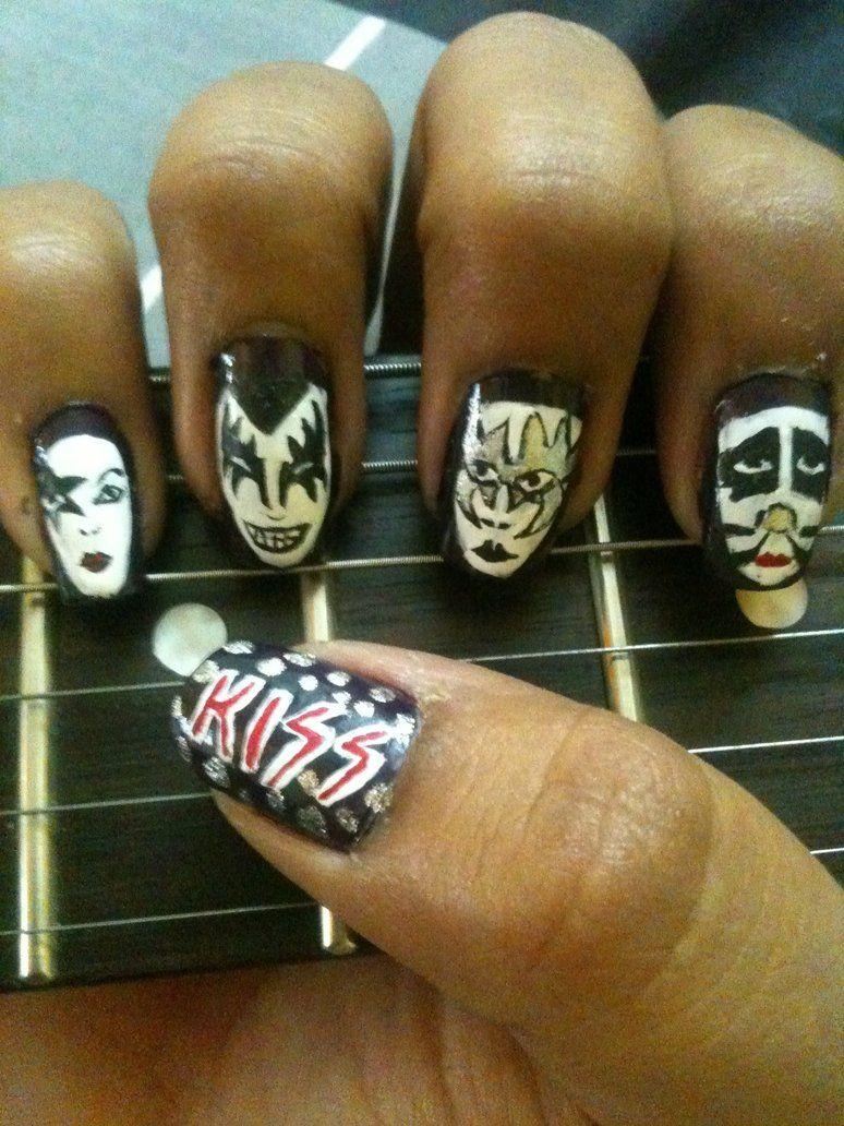 KISS nail art! by ~akshitashah on deviantART | Cool and weird nails ...